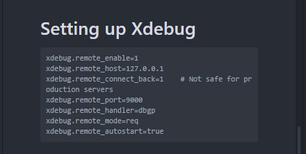 XDebug Settings