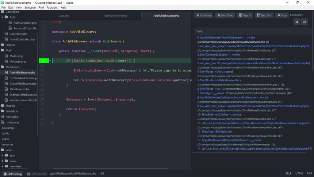 Now you're debugging - how good is Atom??